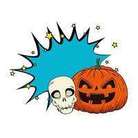 Halloween-pompoen met schedel