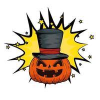 halloween pompoen met hoge hoed