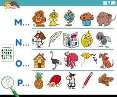 eerste letter van een woord educatieve taak vector