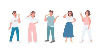 vijf zintuigen egale kleurenset vector