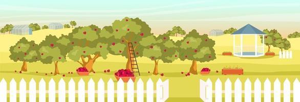 landschap met tuinhuisje en kassen