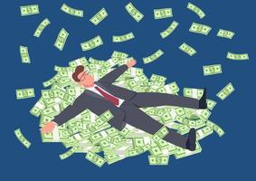 succesvolle man liggend op geld