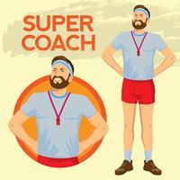 Super Proud Sport Coach in staande positie vector