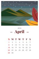 April 2018 Maandelijkse kalender vector