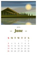 Juni 2018 Landschapsmaandelijkse kalender vector