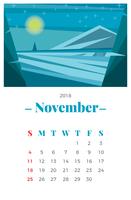 Maandelijkse kalender van november 2018 vector