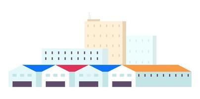 gebouwen met meerdere verdiepingen en ruime hangars vector