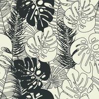 zomer naadloze tropische patroon met monstera palmbladeren vector