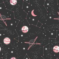 universum met planeten en sterren naadloos patroon