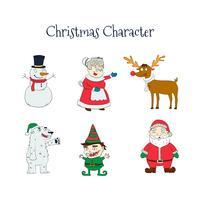 Hand getrokken Christmas Character Collection vector