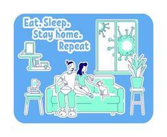 eet, slaap, blijf thuis vector