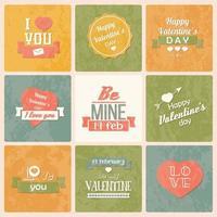 verzameling vintage labels voor Valentijnsdag
