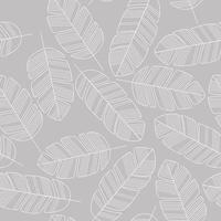 naadloze patroon met witte bladeren op grijze achtergrond.