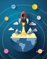 ruimteraketlancering en melkweg. vector