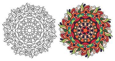 afgeronde decoratieve decoratieve kleuren mandala kleurboekpagina voor volwassenen vector