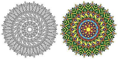 afgeronde decoratieve decoratieve kleuren mandala kleurboekpagina vector