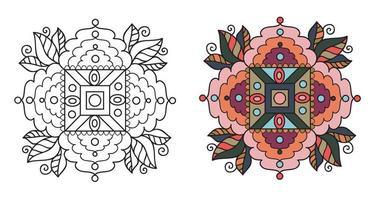 afgeronde decoratieve decoratieve kleuren mandala kleurboekpagina