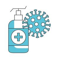 antibacteriële fles met coronavirusdeeltje