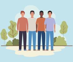 mannen avatars bomen en struiken ontwerp