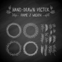 hand getrokken frame en krans vector