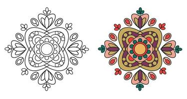 afgeronde decoratieve decoratieve mandala kleurboekpagina vector