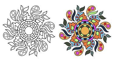 afgeronde decoratieve decoratieve kleuren mandala kleurboekpagina voor volwassenen