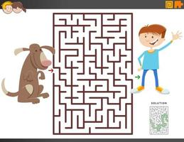 doolhofspel met cartoon jongen en hond vector