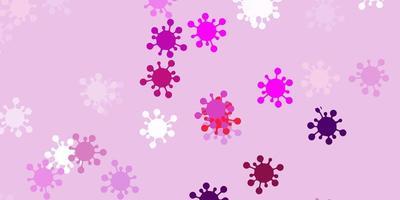 lichtpaarse, roze achtergrond met covid-19 symbolen.
