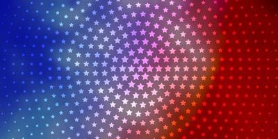 lichtblauwe, rode lay-out met heldere sterren.