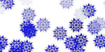 lichtblauw patroon met gekleurde sneeuwvlokken.