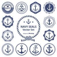 retro marine zeehonden vector set