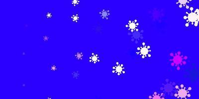 blauwe achtergrond met covid-19 symbolen.