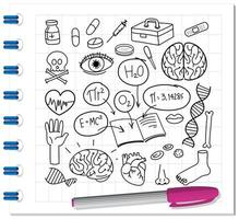 medisch wetenschapselement in krabbel of schetsstijl op notitieboekje