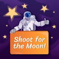 schiet voor post op sociale media op de maan