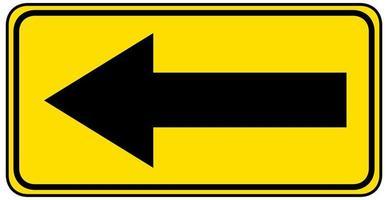 scherpe bocht naar links geel bord op een witte achtergrond vector