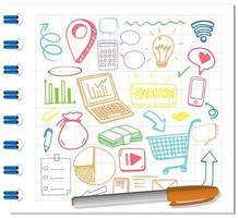 set van sociale media element doodle op papier