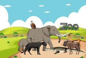 groep wilde Afrikaanse dieren in de dierentuinscène vector