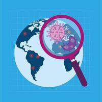 planeet aarde met vergrootglas tijdens coronaviruspandemie