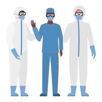 artsen met beschermende pakken, bril en maskers tegen covid 19