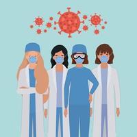 vrouwelijke doktershelden met uniformen en maskers