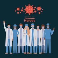 vrouwelijke en mannelijke doktershelden met uniformen en maskers