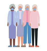 oudere vrouwen met maskers tegen covid 19