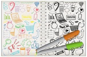 set van sociale media element doodle op notebook