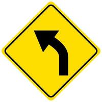 waarschuwingsbord voor een bocht naar links op een witte achtergrond