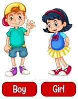 tegenovergestelde bijvoeglijke naamwoorden met jongen en meisje vector