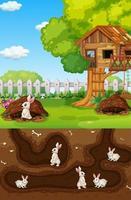 ondergronds dierenhol met veel witte konijnen vector
