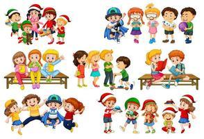 set van verschillende kinderen spelen met hun speelgoed vector