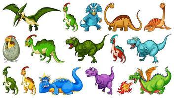 set van verschillende dinosaurus stripfiguren
