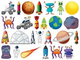 set ruimtevoorwerpen en elementen