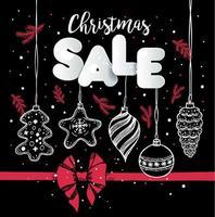 kerst verkoop ontwerp met hand getrokken ornamenten